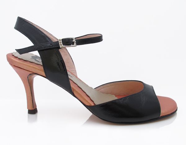 Photo of Camila in black and peachshimmer leather by Mr Tango Shoes
